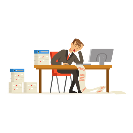Businessman working with computer stressed out by long list of debts vector Illustration
