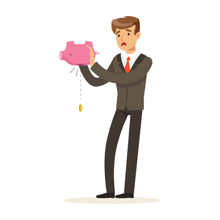 Businessman shaking an empty piggy bank vector Illustration Stok Fotoğraf - 80061859