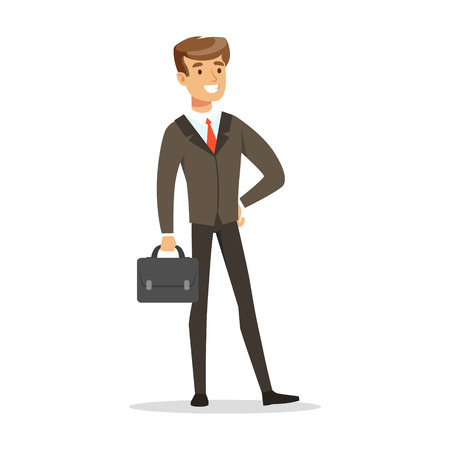 Smiling successful businessman with briefcase vector Illustration Illustration