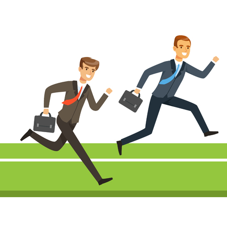 Two businessmen running with briefcase, business people competition vector Illustration