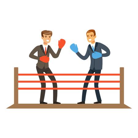 ボクシングのリング、ビジネス競争で戦うビジネスマン ベクトル イラスト  イラスト・ベクター素材