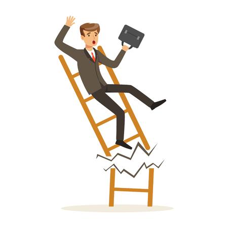 L'uomo d'affari o il responsabile cade giù della scala rotta di carriera, illustrazione infruttuosa di vettore del carattere Archivio Fotografico - 80061864