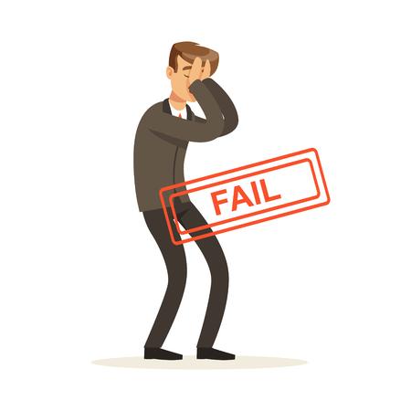 Mislukt en benadrukt zakenman karakter vector illustratie geïsoleerd op een witte achtergrond