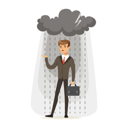 Depressed businessman with briefcase standing in the rain under a cloud, unsuccessful character vector Illustration isolated on a white background Çizim