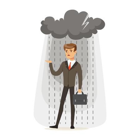 Gedeprimeerde zakenman met aktentas die zich in de regen onder een wolk bevindt, onsuccesvolle karakter vectorillustratie geïsoleerd op een witte achtergrond