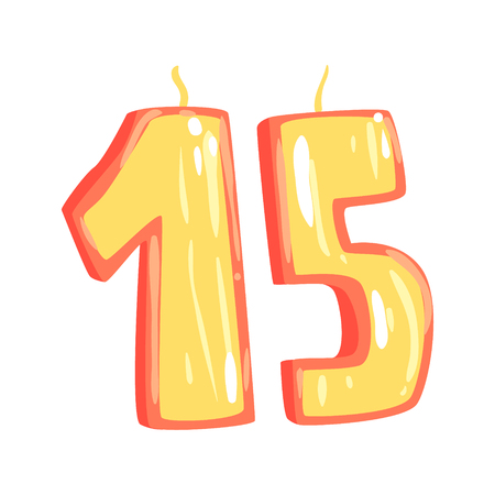 생일 촛불 번호 15 만화 벡터 일러스트 흰색 배경에 고립 된