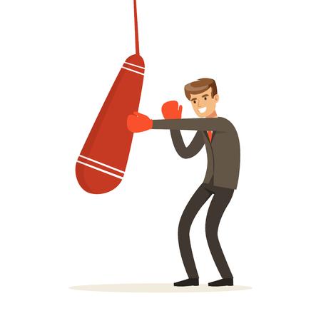 Smiling businessman in boxing gloves hitting a punching bag vector Illustration