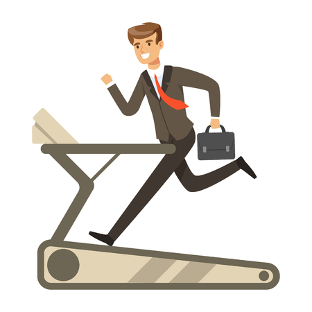 Businessman running on a treadmill vector Illustration