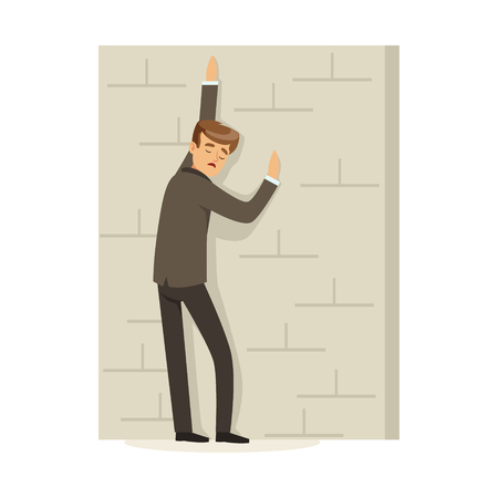 Failed and stressed businessman standing and leaning against a concrete wall, unsuccessful character vector Illustration isolated on a white background