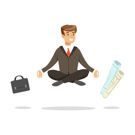 Young businessman sitting in lotus pose and meditating, briefcase and paper rolls flying around him vector Illustration