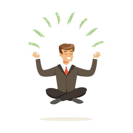 Lachende zakenman zitten in een lotus pose, geld vliegen rond hem vector illustratie geïsoleerd op een witte achtergrond