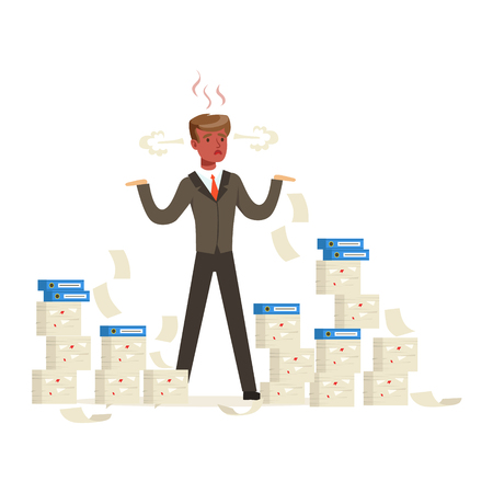 Overworked businessman with red face standing is surrounded by stacks of papers and steam coming out of his ears vector Illustration
