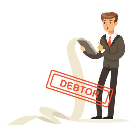 ビジネスマンは負債の長いリストがたまって、白い背景に分離された債務者のベクトル図  イラスト・ベクター素材