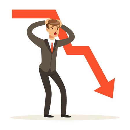 Caracteres frustrados del hombre de negocios y gráfico rojo que caen, ilustración del vector aislada en un fondo blanco