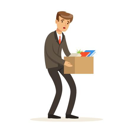 Sad businessman character leaving work vector Illustration isolated on a white background Ilustração