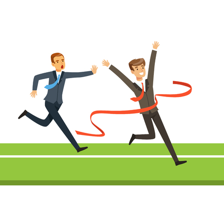 Business people competition, two businessman crossing the finish line vector Illustration isolated on a white background