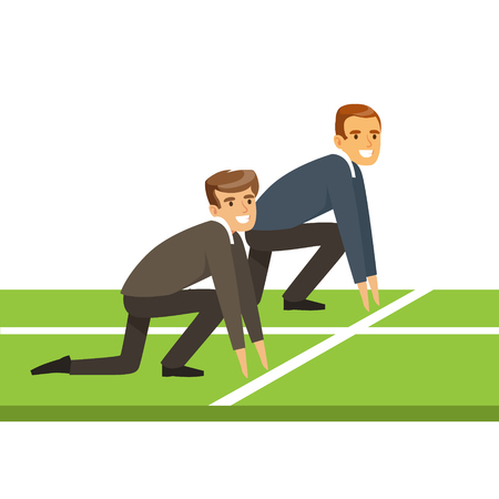 Business people at starting line on a race, business competition vector Illustration isolated on a white background Ilustração