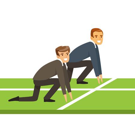 Mensen uit het bedrijfsleven aan het begin van een race, zakelijke concurrentie vector illustratie geïsoleerd op een witte achtergrond Stock Illustratie