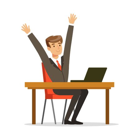 looking at computer screen: Successful businessman sitting at his desk and celebrating with arms up vector Illustration