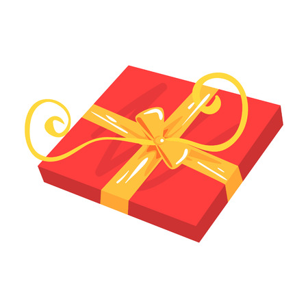 Red gift box with yellow bow cartoon vector Illustration