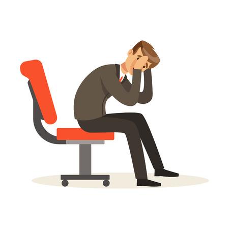 不幸なビジネスマン失敗文字ベクトル図、椅子の上に座って彼の仕事に不満を持って 写真素材 - 80061932