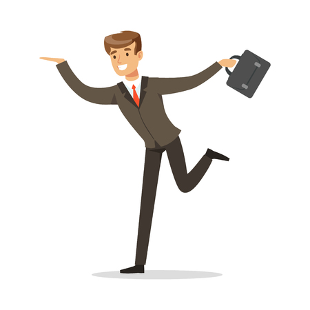 Smiling successful businessman running with his briefcase vector Illustration isolated on a white background Ilustração
