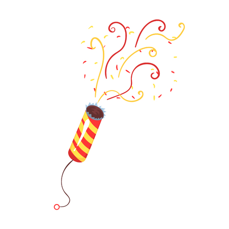 Exploding party popper with serpantin, celebration birthday symbol cartoon vector Illustration isolated on a white background