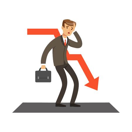 Mislukte zakenman en rode grafiek naar beneden, onsuccesvolle karakter vector illustratie geïsoleerd op een witte achtergrond