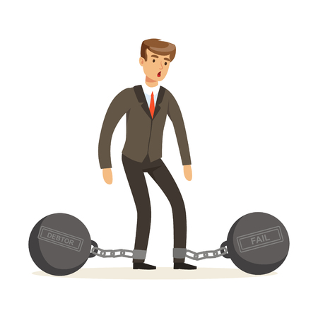 Office worker character with shackles vector Illustration isolated on a white background Illustration