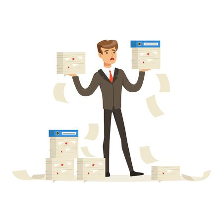 Trastornado hombre de negocios que sostiene una gran cantidad de documentos, el administrador tiene un montón de ilustración vectorial de trabajo aislado en un fondo blanco