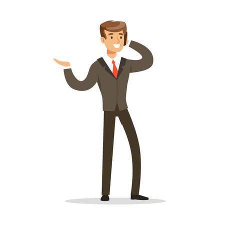Cheerful businessman talking on the phone vector Illustration