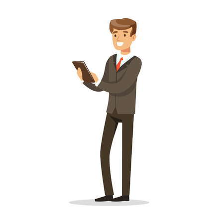 Successful businessman standing and holding a notebook vector Illustration
