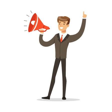 Young businessman with loudspeaker vector Illustration