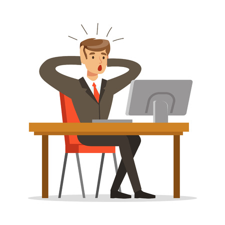 Businessman holding his head by two hands while working in his office vector Illustration isolated on a white background