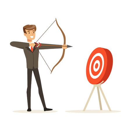 Cheerful businessman aiming target with bow and arrow vector Illustration isolated on a white background