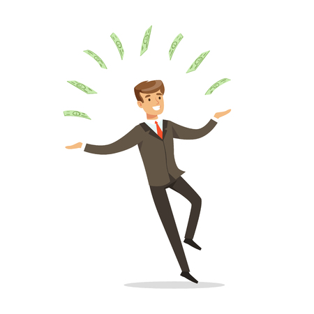 Successful businessman standing and juggling with money bills vector Illustration isolated on a white background Illustration