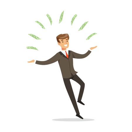 Succesvolle zakenman permanent en jongleren met geld rekeningen vector illustratie geïsoleerd op een witte achtergrond