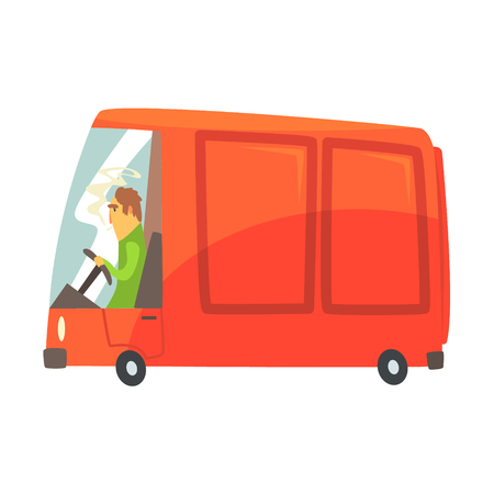 Red cartoon cargo van, commercial transport vector Illustration isolated on a white background