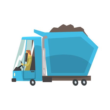 Blauwe op zwaar werk berekende stortplaatsvrachtwagen met steenkool, het beeldverhaal vectorillustratie van het vrachtvervoer op een witte achtergrond wordt geïsoleerd die