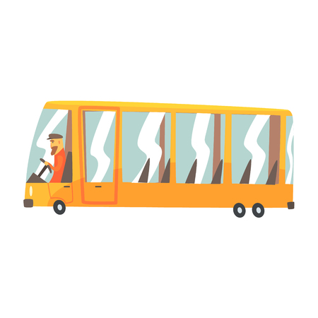 Yellow cartoon bus, public transport vector Illustration isolated on a white background