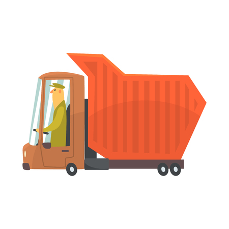 Oranje op zwaar werk berekende stortplaatsvrachtwagen, het beeldverhaal vectorillustratie van het vrachtvervoer op een witte achtergrond wordt geïsoleerd die