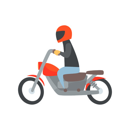 Man in helmet riding a motorcycle cartoon vector Illustration isolated on a white background