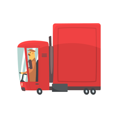 Red cartoon semi truck, cargo transport vector Illustration isolated on a white background Illustration