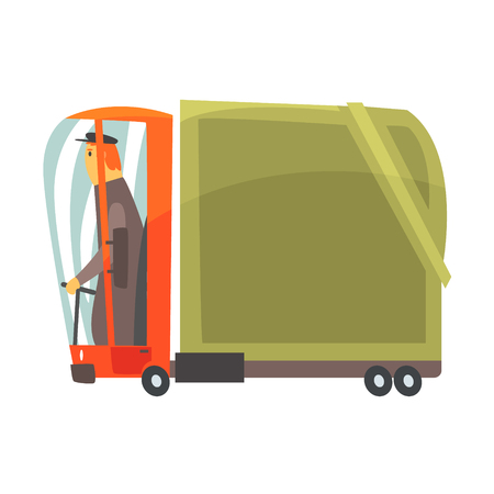 Cartoon american truck, cargo transport vector Illustration isolated on a white background