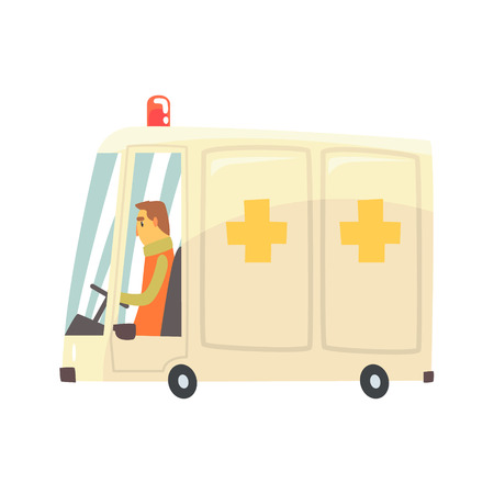 Cartoon ambulance car vector Illustration isolated on a white background Illustration