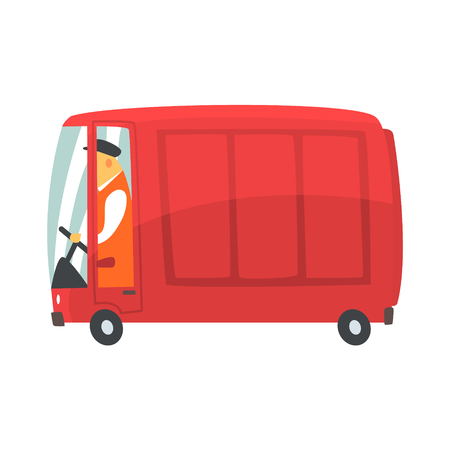 Red cartoon retro cargo van, commercial transport vector Illustration isolated on a white background Illustration