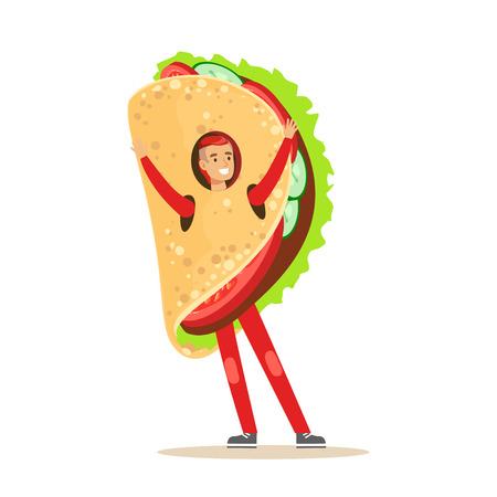 Man wearing mexican fajitas costume, fast food snack character vector Illustration isolated on a white background