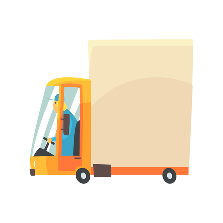 shipments: Yellow cartoon delivery truck vector Illustration isolated on a white background