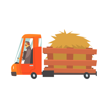Cartoon truckload of hay, farmer truck vector Illustration isolated on a white background