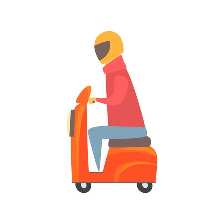 Man riding orange motorbike cartoon vector Illustration isolated on a white background
